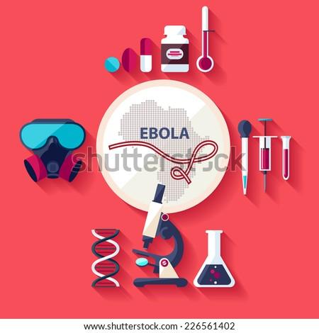 Virus Ebola. Flat design. - stock vector