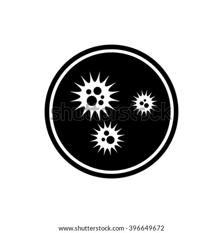 Virus icon. Black round icon isolated on white background. Petri dish silhouette. Simple circle icon. Web site page and mobile app design element. - stock vector