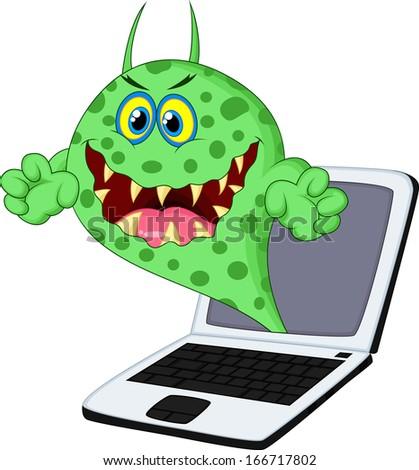 virus on laptop - stock vector