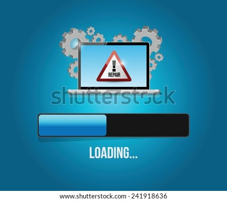 virus reparation update. computer concept illustration design over a blue background - stock vector