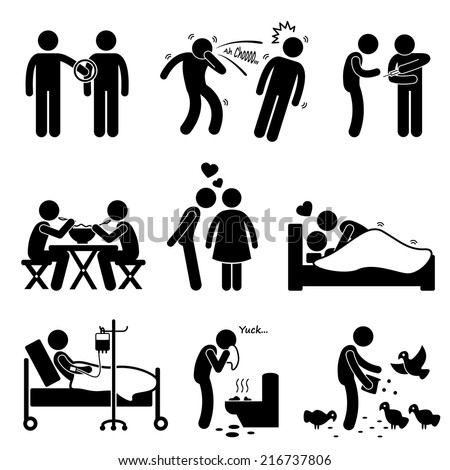 Virus Spread Diseases Transmission Infections Ways Stick Figure Pictogram Icons - stock vector