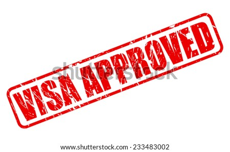 Visa approved red stamp text on white - stock vector