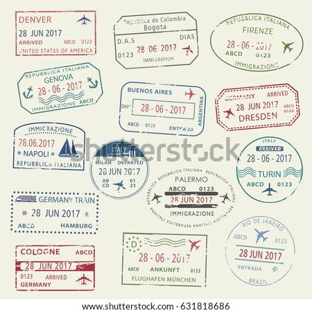 Passport Travel Stamps Set City Names Stock Vector 671144665 Shutterstock
