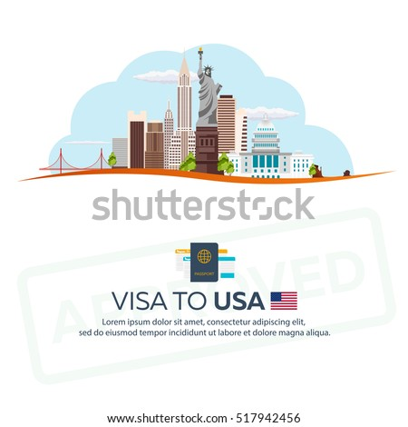 Visa to USA. Travel to USA. Document for travel. Vector flat illustration