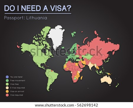 Visas information republic lithuania passport holders stock vector visas information for republic of lithuania passport holders year 2017 world map infographics showing gumiabroncs Image collections
