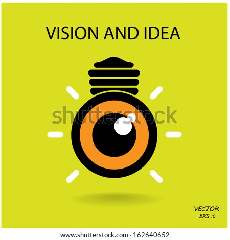 vision and ideas sign,eye icon,light bulb symbol ,business concept.vector illustration - stock vector