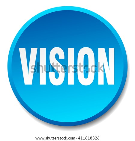 vision blue round flat isolated push button