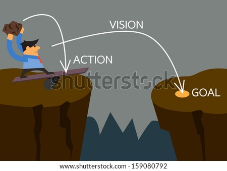 Vision businessman on spring from a cliff to another cliff with stone momentum with planing of action vision and goal a vector concept - stock vector