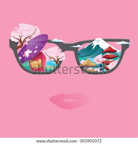 Vision of travel to Japan, showing temple, sakura, fuji mountain, kimono. - stock vector