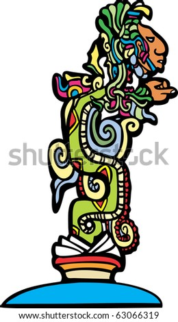 Vision serpent derived from traditional mayan temple imagery. - stock vector