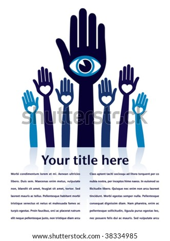 Visionary leader and followers with copy space vector. - stock vector