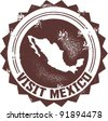 Visit Mexico Vintage Stamp - stock vector