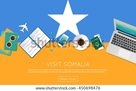 Visit Somalia concept for your web banner or print materials. Top view of a laptop, sunglasses and coffee cup on Somalia national flag. Flat style travel planninng website header. - stock vector