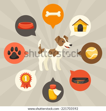 Visual infographics with cute dogs, icons and objects. - stock vector