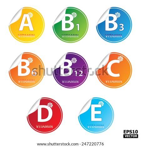 Vitamin A,B1,B3,B6,B12,C,D,E sticker, label, icon, tag, sign.-eps10 vector - stock vector