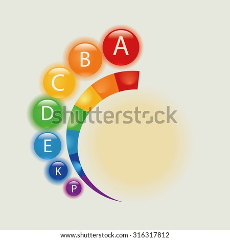 Vitamin alphabet. Rainbow vitamins in alphabetical order. - stock vector