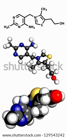 Vitamin B1 (thiamine), molecular model. Atoms are represented as spheres with conventional color coding: hydrogen (white), carbon (grey), oxygen (red), sulfur (yellow), nitrogen (blue) - stock vector