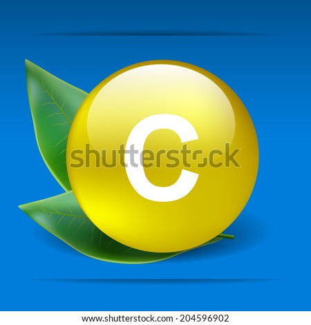 Vitamin C with green leaves as concept - stock vector