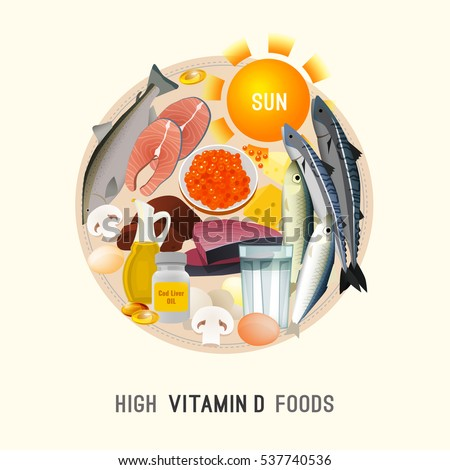 Vitamin d stock images royalty free images vectors shutterstock vitamin d in food beautiful vector illustration in modern style isolated on a light background sciox Image collections