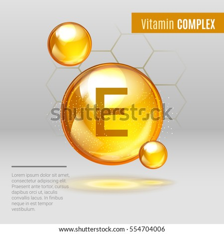 Vitamin E gold shining pill capcule icon . Vitamin complex with Chemical formula, Tocopherols, tocotrienols. Shining golden substance drop. Meds for heath ads. Vector illustration