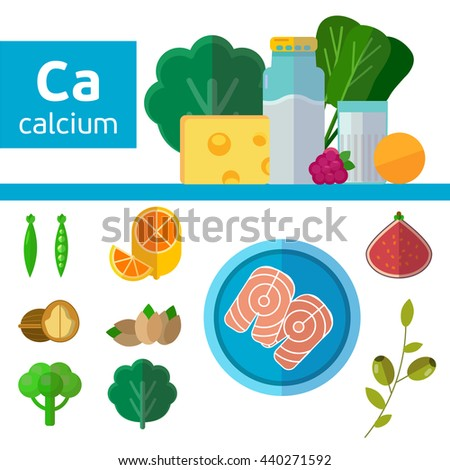 Vitamins and Minerals foods Illustration. Vector set of  calcium rich foods. Milk, broccoli, oranges, soybeans, fish, figs,  spinach, cheese,green beans, olives - stock vector