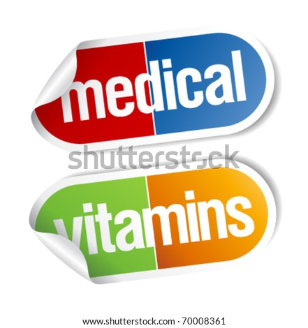 Vitamins, pills medical stickers set. - stock vector
