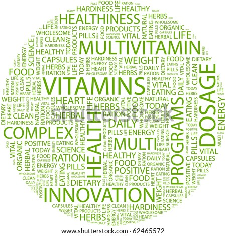VITAMINS. Word collage on white background. Illustration with different association terms. - stock vector
