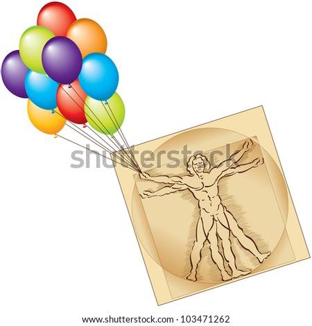 Vitruvian Man Balloons�Healthcare Getting Carried Away - stock vector