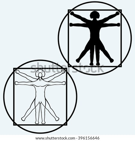 Vitruvian man. Isolated on blue background. Vector silhouettes - stock vector