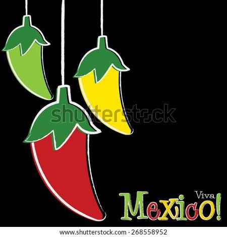 Viva Mexico chili pepper string card in vector format. - stock vector