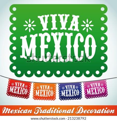 Viva Mexico - mexican holiday vector decoration - stock vector