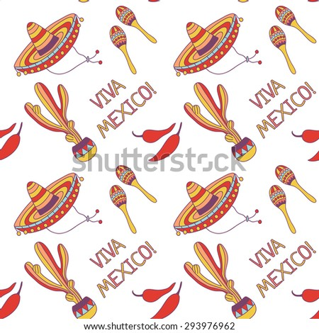 Viva Mexico! Mexican Seamless Pattern with hand drawn symbols - stock vector