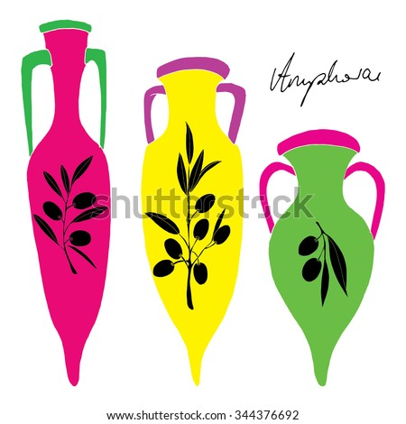 Vivid amphorae illustration with black olive and typography - label - stock vector