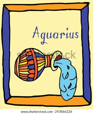 Vivid Aquarius horoscope sign vectorized hand draw - stock vector