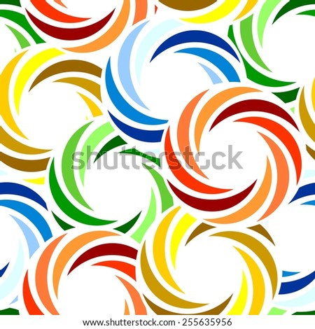 Vivid colorful repeating abstract seamless background with swirl rings - stock vector