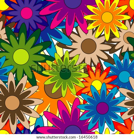 Vivid, colorful, repeating flower background on white