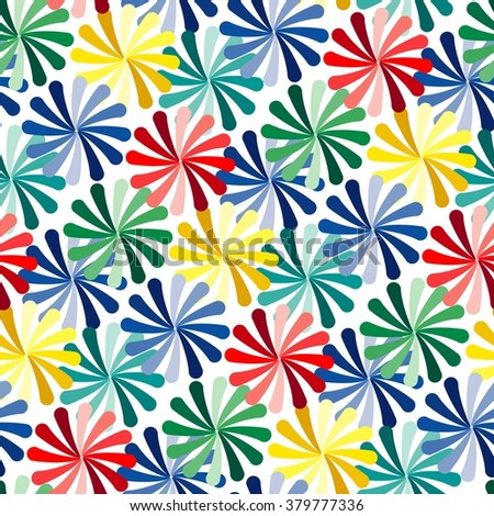 Vivid colorful repeating flower seamless background