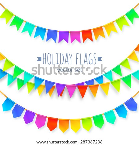 Vivid colors rainbow flags garlands vector set isolated on white background - stock vector