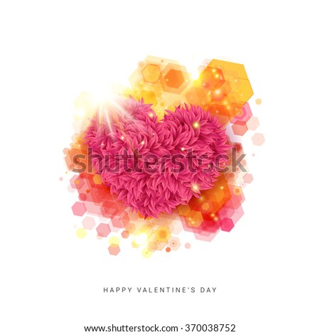 Vivid Happy Valentine`s day card. Decorative floral heart in bright rays of shining star. Bright colored hexagon decor. Vector illustration. - stock vector