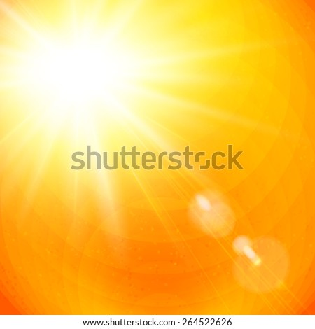 Vivid orange sunburst with sun flare from gases depicting the heat of a hot tropical summer sun, or a colorful sunset or sunrise, vector illustration - stock vector