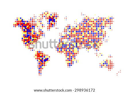 vivid world map. Halftone Design. vector illustration - stock vector