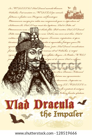 Vlad III Dracula Tepes: the historical Count Dracula - stock vector