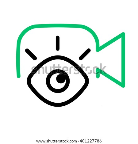 Vlog or video blog line icon. Camera with eye.  - stock vector