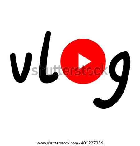 Vlog watch button. Typography with play red circle. - stock vector