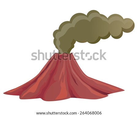 Volcano billowing with smoke and ashes - stock vector