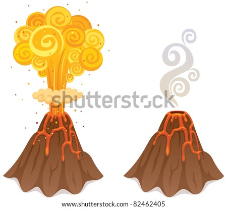 Volcano: Cartoon illustration of a volcano in 2 versions. No transparency used. Basic (linear) gradients. - stock vector