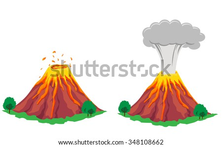 Volcano erupting - stock vector