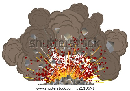 Volcano Eruption, Explosion vector illustration - stock vector