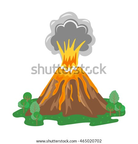 Volcano eruption with smoke and erupting lava. Vector illustration.
