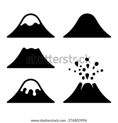 Volcano Icons Set. Vector - stock vector